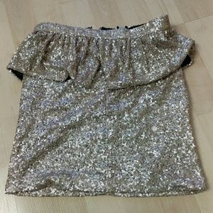 ASOS gold sequins peplum skirt